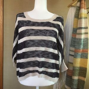 Aphorism Navy & Cream Striped Open Knit Sweater M